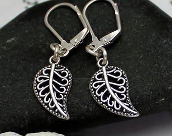Leaf Earrings Boho Earrings Nature Jewellery Filigree Earrings Delicate Earrings Leaf Jewellery Charm Jewelry Autumn Jewellery