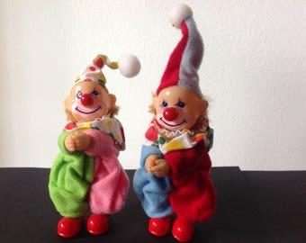 Rare Vintage Clown Pencil Huggers Grabbers Gro-Well Korea set of 2