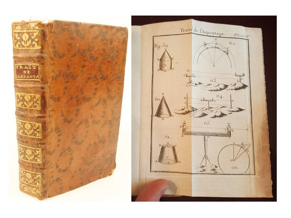 1758 Treatise on Surveying and Measuring (in French) by Jacques Ozanam, 12 fold-out plates. Cat's-paw calf. Cartography and Construction