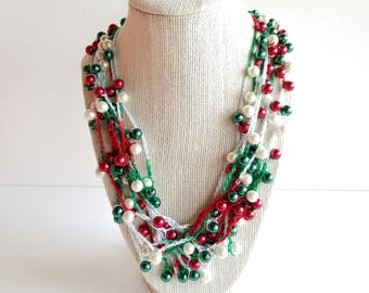 Multi Strand Necklace - Crocheted Necklace - Handmade Jewelry - Christmas Jewelry - Gift For Her - Beaded Necklace - Glass Pearls