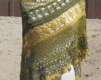 Soft Greens Lace Alpaca Triangular Crocheted Shawl