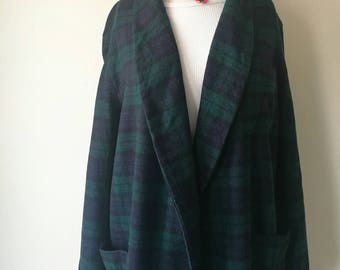 Vintage 1960s Pendleton checkered wool robe night gown duster coat navy and dark green