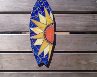 Gift for him, mini surfboard, wall decor, surf art, beach house.