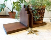 Mid Century Natural Dark Wood Bookends