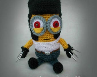 Minion Wolverine Crochet Toy Yellow Minion X-men Plush Minion Plush Wolverin Yellow Push Monster MADE TO ORDER