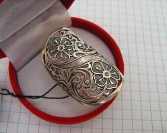 SOLID 925 Sterling Silver Ring Flower Flora National Ukrainian Pattern Made In Ukraine Adornment Jewelry Oxidized Blackened Darkened