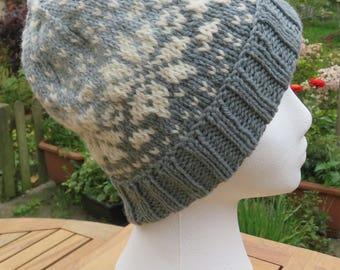 Traditional FairIsle hat, Snowflake hat, Alpaca/Wool hat, Grey/green lichen wool hat