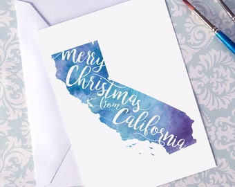 California Map Christmas Card, CA Watercolor Greeting Card, Merry Christmas from California Lettering, Gift, Postcard, Map Art Card or Print