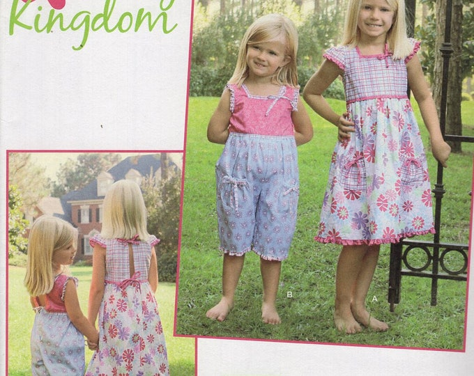 FREE US SHIP Sewing Pattern Simplicity 2239 Uncut New Girls Daisy Kingdom Out of Print Jumpsuit Romper Dress Size 3 4 5 6 7 8 Uncut New