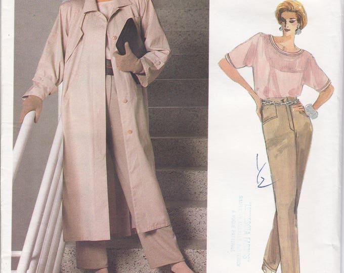 FREE US SHIP Vogue 1773 Designer Geoffrey Beene Career Sewing Pattern Uncut Size 12 Bust 34 Duster Coat Blouse Jeans Casual Drop Shoulder