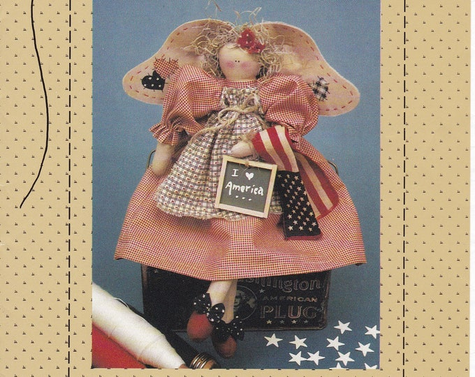 """FREE US SHIP Country Stitches Star Spangled Sweetie 15"""" Americana Angel Primitive Folk Art Doll Craft Sewing Pattern 4th of July Patriotic"""