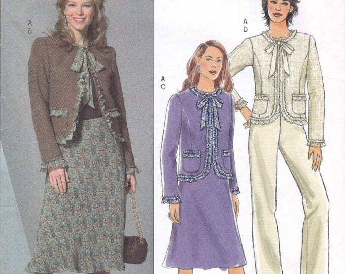 FREE US SHIP Butterick 4872 Suit Jacket Skirt Pants Cardigan Uncut 2006 Out of Print Size 8 10 12 14 Bust 31 32 34 36
