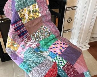 """Vintage Summer Quilt - Patchwork Quilt Love - 57"""" x 85"""" - Twin Bed Size - Picnic Blanket - Farmhouse Decor - Cottage Decor - Bright Colors"""