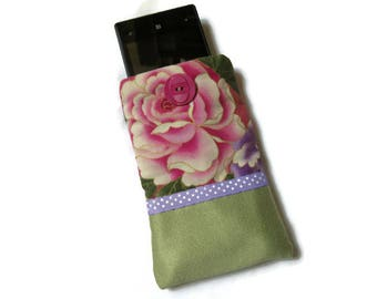 Pouch, case, cell phone, sunglasses, Japanese fabric, flowers, pink, green