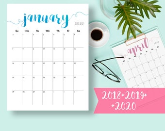 2018 Calendar PRINTABLE Desk Calendar Planner Monthly Pages Printable Wall Calendar 2018 Calendar PDF 2018 Desk Calendar Instant Download