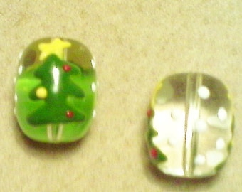 Christmas tree beads; beautifullu handcrafted, lapwork glass Christmas tree beads, approximately 20x13mm, 2pcs/2.80.