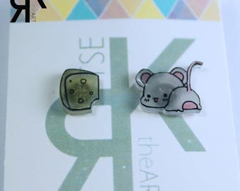 Mouse and Cheese Skrink Plastic Stud Earrings