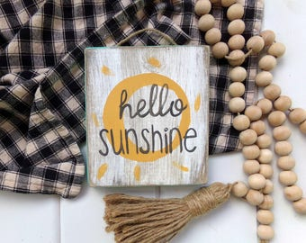 Hello Sunshine Sign, Baby Girl Nursery Sign, Girls Bedroom Decor, Summer Decor, Entryway Sign, Front Door Sign, Front Porch Sign, Patio Sign