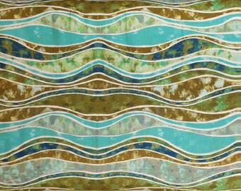 EBI Fabrics:  Polynesian Waters in Ocean Wave (986) Pattern QT 1545; 1/2 yard woven cotton fabric