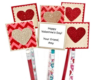 kids pencil valentine cards personalized valentine pencil favors school valentines day party treats valentine pencils