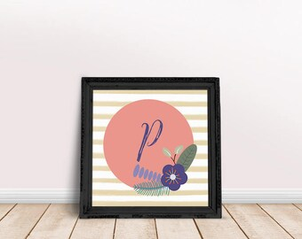 Baby Initial Decor P | Printable Poster, Letter Floral Wreath, Floral Wreath Letter, Name Letter Poster, Floral Letter
