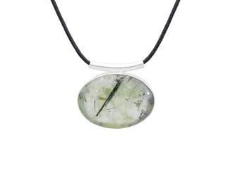 Prehnite necklace, sterling silver necklace, prehnite pendant, prehnite jewelry, black suede leather cord, natural prehnite,gemstone pendant