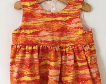 Fiery Orange Girls Summer Dress