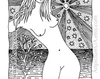 The girl by the sea. Symbolic graphics gel pens. Black and white graphics. Naked. Beauty of a woman's body. Fantastic landscape. Nude. 16+