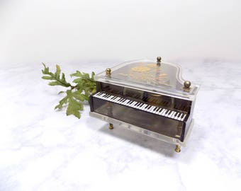 Vintage Small Grand Piano Music Box with Roses, Small Piano, Small Music Box, Flower Music Box, Vintage Music Box, Piano Music Box, Piano
