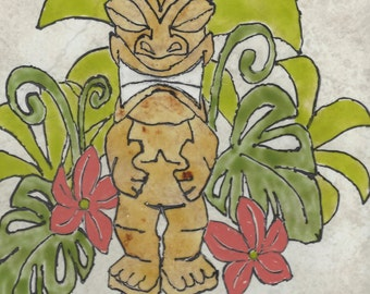 Tiki Welcome #004 Hand Painted Kiln Fired Decorative Ceramic Wall Art Tile 8  x 12