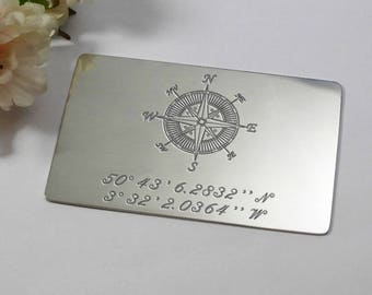 Custom engraved coordinates and message, personalised wallet insert for him, coordinates keepsake keychain, coordinates boyfriend gift card