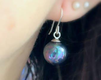 Drop Pearl Earrings Sterling Silver Pearl Earrings Bridal Earrings Pearl Wedding Earrings Black Pearl Earrings Bridesmaids Silver Earrings