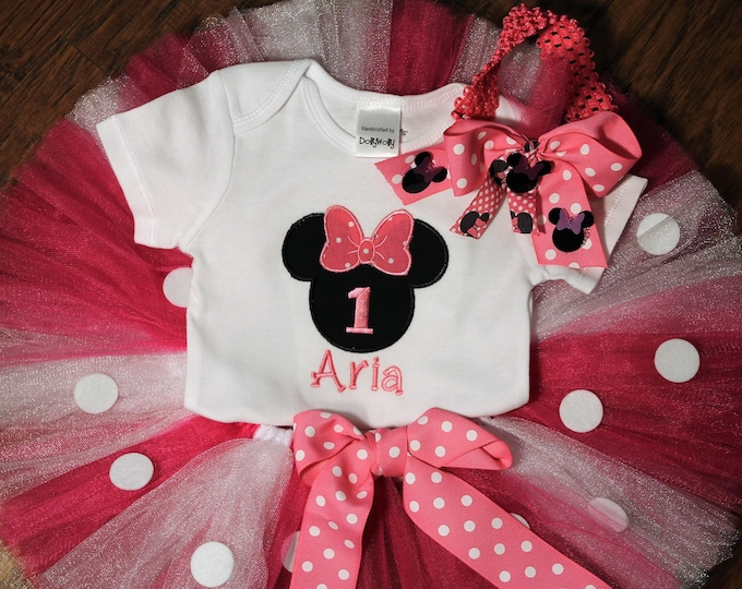 Sample Sale, Minnie Mouse first birthday outfit,1st birthday Minnie Mouse bodysuit personalized with Aria,Pink and white tutu