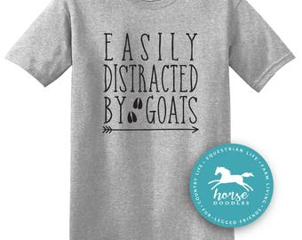 Easily Distracted By Goats | Barn Life | Farm Girl | Farm T Shirt | Goat Shirt | Humor Farm | Goats |  *New* Softstyle Unisex Tee |  Soft