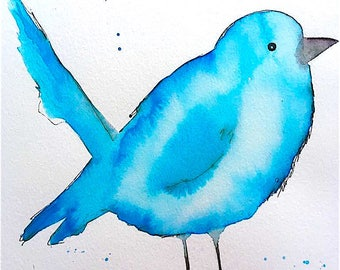 Blue Bird bird Blue watercolor Water color print