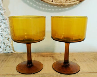 Pair of Midcentury Amber Glasses / Midcentury Cocktail Glasses