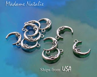 WHOLESALE Moon Charms (30), Double Sided Tibetan Silver Crescent Moon Charms,  Face Moon Charms, Celestial Charms, Moon Charms in bulk