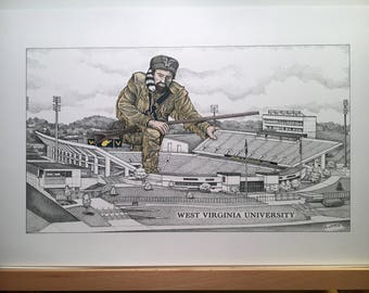 "West Virginia Football Stadium 11""x17"" pen and ink print and hand-colored mountaineer"