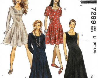 Easy McCall's 7299 sewing pattern Misses size D 12-14-16 flared dress in 2 lengths, petite-able