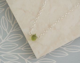 Faceted Peridot Teardrop Necklace, Sterling Silver Green Wire Wrapped Briolette Pendant, August Birthstone Jewellery