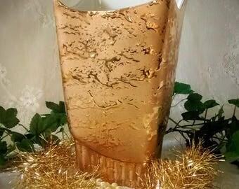 Vintage Stanford Sebring Weeping Gold  Vase Mid Century