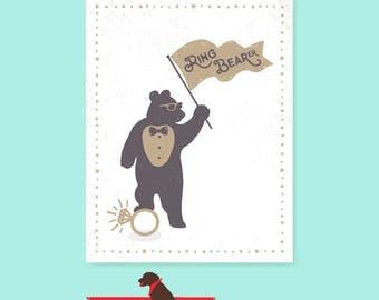 Ring Bearer Card - Ring Bear Card - card - funny ring bearer card - will you be my ringbearer card - ringbear card - ringbear