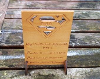 Fathers day card, Wooden keepsake card, Superdad card, super hero card, handmade card, Birthday, superman card, wooden card, wood card