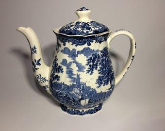 Royal Worcester Coffee Pot, Blue and White, Vintage Transferware, Avon Scenes, Palissy England, Transfer Tea Set, English China,