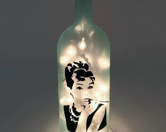 Audrey Hepburn Wine Bottle Lamp / Breakfast at Tiffany's / Gifts for Her / Gift Ideas
