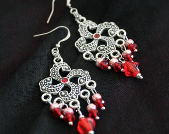 Earrings American ties with red glass beads and metal charms