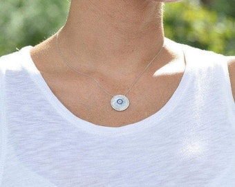 Round Evil Eye Necklace, Evil Eye, Evil Eye Jewelry