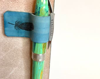 CLOSEOUT SALE! Leather Fountain Pen Loop, Turquoise Feather, Stamped Leather, Pen Holder, Clip On, For Bullet Journal, Traveler's Notebook