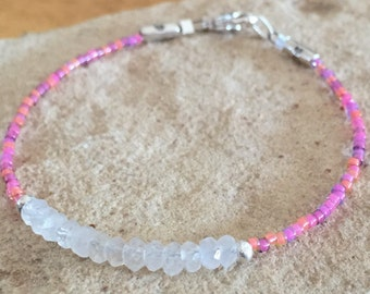Pink, purple, and peach seed bead bracelet, moonstone bracelet, gemstone bracelet, Hill Tribe silver bracelet, boho bracelet, gift for her