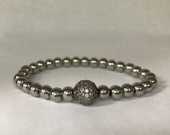 Women's stainless steel bracelet with gunmetal/clear CZ rhinestone pave bead